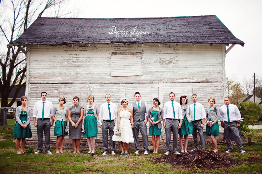 vintage bridal party teal and grey